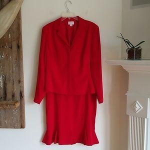 Liz Claiborne red skirt suit 14